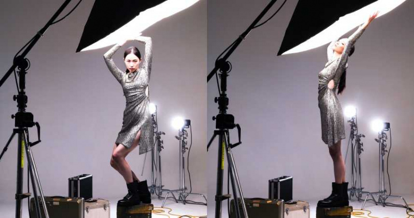 maje 金屬絲挖腰洋裝/11,590元、壓紋拉鍊皮短靴/16,000元(圖/戴世平攝)