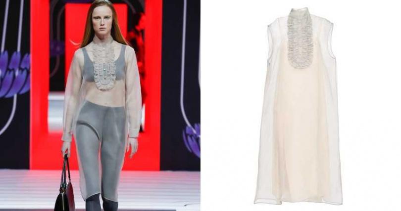 一件式的透膚烏干紗洋裝也能對比出年輕感。PRADA 透膚烏干紗洋裝/約59,500元(圖/品牌提供)