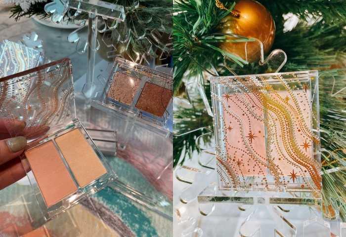 ETUDE雪燦聖誕雙色頰彩盤(輕柔) 4g + 3.8g/490元(左邊:腮紅/右邊:打亮),輕盈質地,像是雪化開在臉龐的溫柔頰彩,兼具腮紅與打亮功能,展現高質感膚質。(圖/黃筱婷攝影)