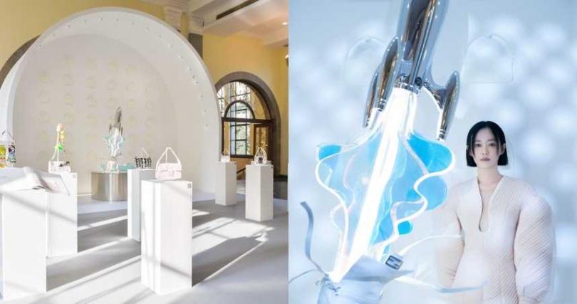 展示空間的拱形墻面與上海展覽中心東館的拱形結構相呼應。由譚卓設計的Baguette中發射的火箭,寓意《無限可能的Baguette》。(圖/品牌提供)