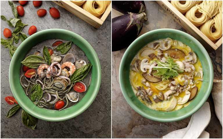 綜合海鮮墨魚湯麵(左)、柚香奶油雞肉野菇湯麵。(圖/石壁家提供)