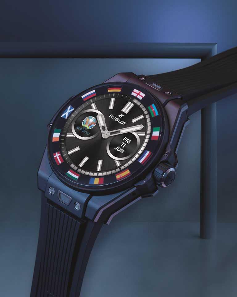 HUBLOT「Big Bang e UEFA Euro 2020」 歐洲盃智能錶,42mm,微珠噴砂及拋光黑色陶瓷錶殼,限量1,000只╱180,000元。(圖╱HUBLOT提供)