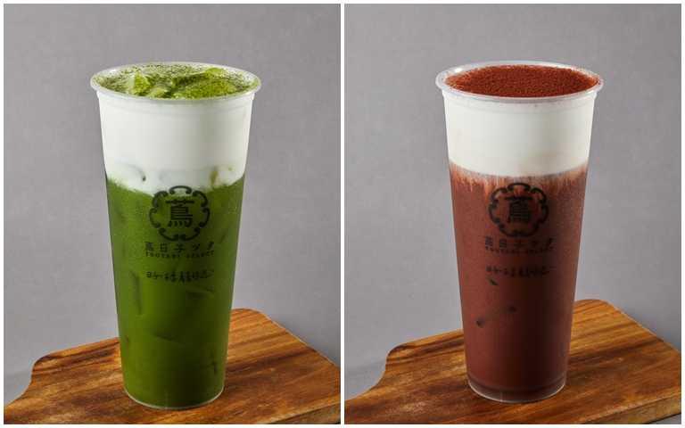京都抹茶鮮奶(左)與嫣紅可可緋紅牛奶。