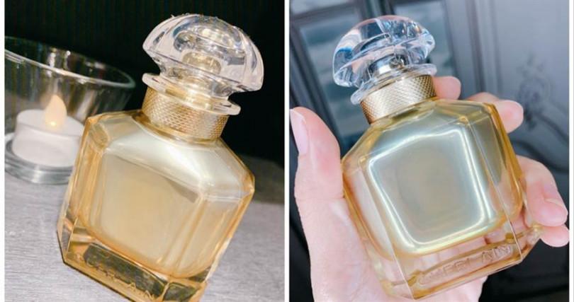 嬌蘭Mon Guerlain我的印記淡香精 金奢摯愛限量款 50ml/3,950元  並不是換成了金色玻璃瓶,而是在內側穿上了一層金漆,這樣曖曖內含光的設計,也很符合現代女性喜歡低調美感的一面。(圖/吳雅鈴攝影)
