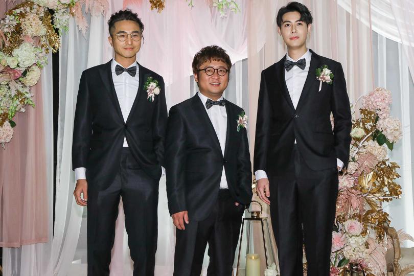 左起王少偉、納豆、Teddy擔任伴郎。(攝影/焦正德)