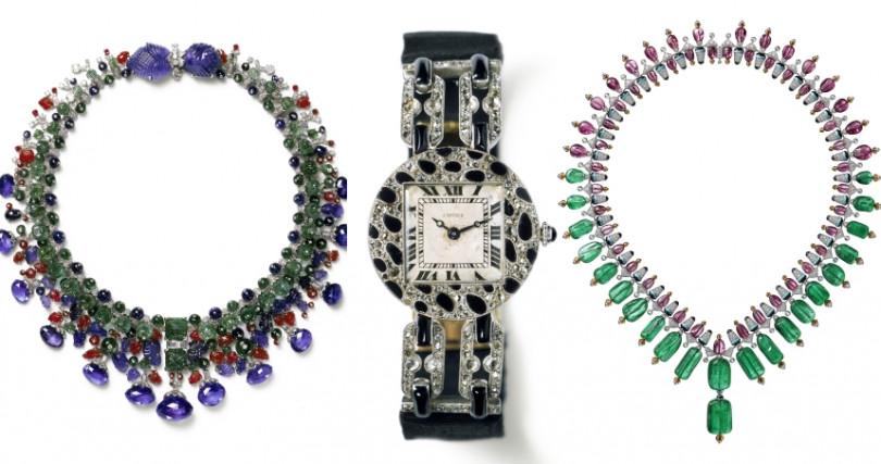 (左)Cartier Collection 1936年卡地亞典藏水果錦囊項鍊(中)1914年卡地亞首次呈現美洲豹花紋於一枚手鏈式腕錶(右)COLORATURA系列項鍊(圖/品牌提供)