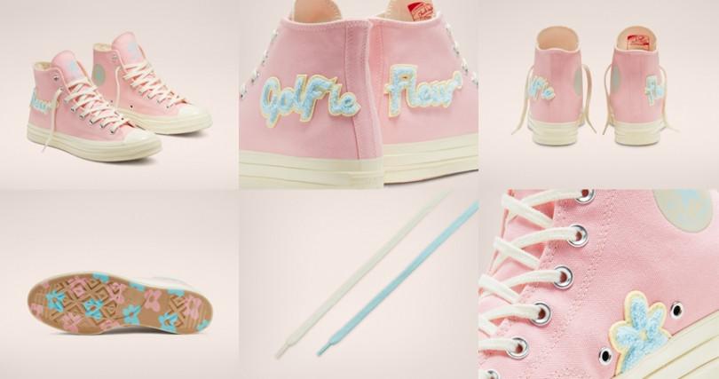 粉色帆布鞋鞋身上綴有天藍色絨線勾勒出的圖案,鞋底還都是粉嫩花朵,實在太萌!售價NT4,180。(圖/Converse)