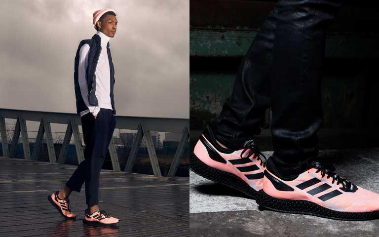 粉色浪潮來襲!adidas推薦粉色系4D 1.0鞋款搭上黑白色系服裝,搶眼又時髦。adidas粉色系4D 1.0鞋款 (男款)FW6839 / 8,800元(圖/品牌提供)