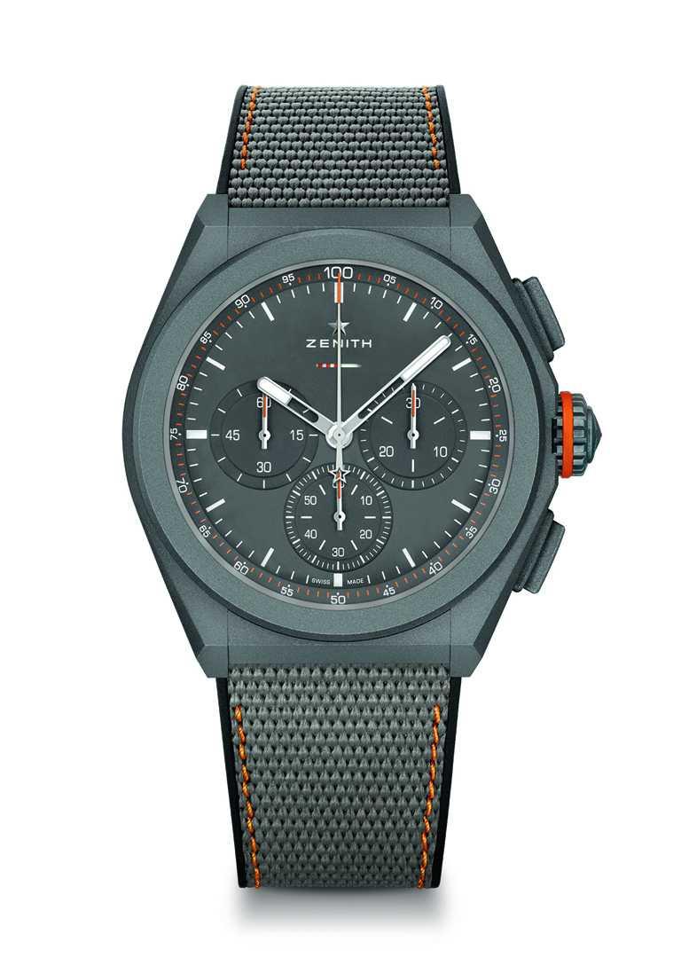 ZENITH「DEFY EL PRIMERO 21 LAND ROVER DEFENDER」聯名限量腕錶(編織錶帶)╱446,700元,限量250只。(圖╱ZENITH提供)