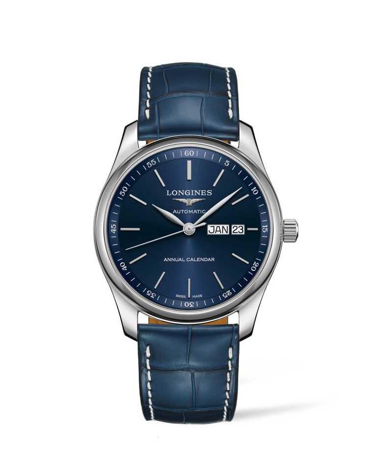 Longines「Master巨擘系列」年曆腕錶,藍色面盤╱73,000元。(圖╱Longines提供)