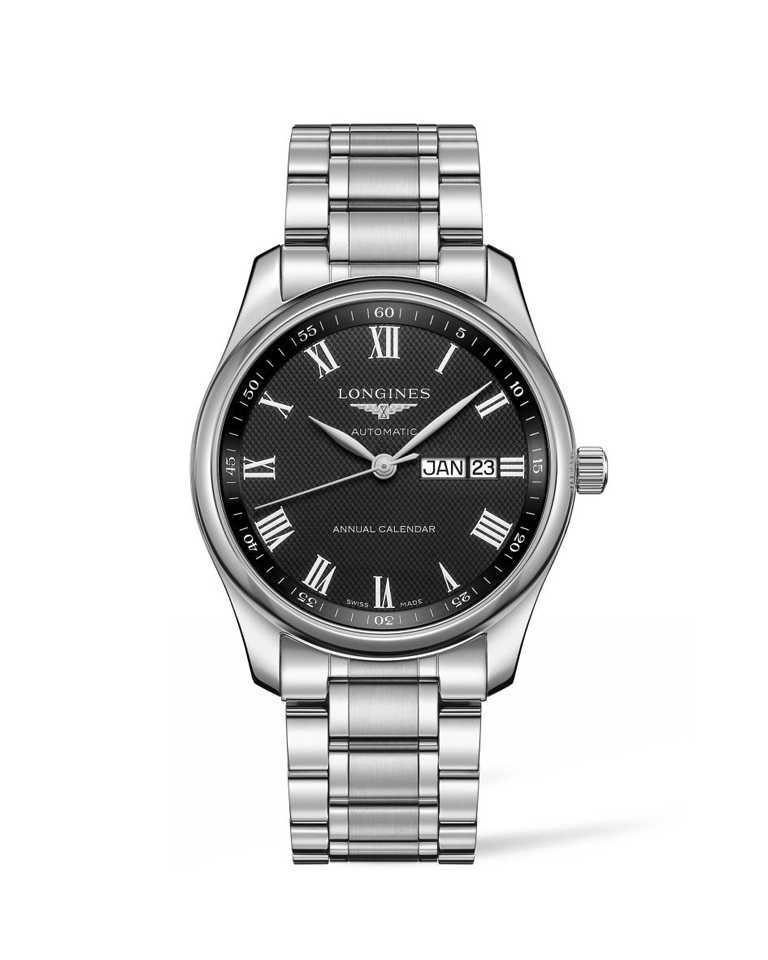 Longines「Master巨擘系列」年曆腕錶,黑色面盤╱73,000元。(圖╱Longines提供)