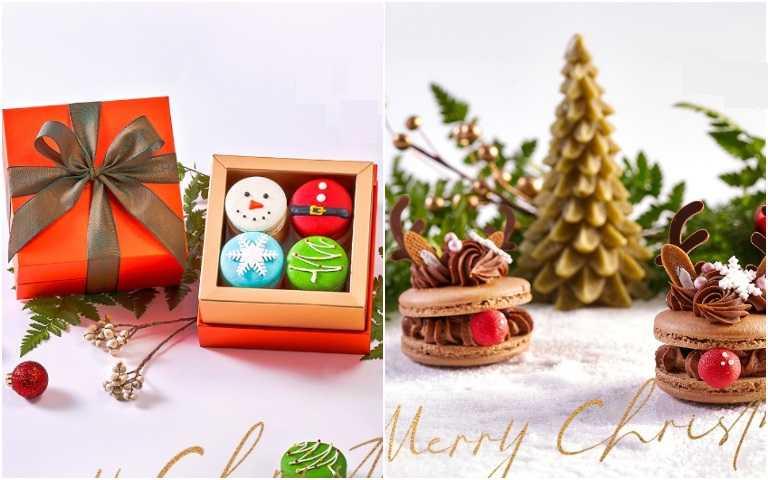 繽紛聖誕馬卡龍禮盒(左)、紅鼻子麋鹿馬卡龍。(圖/采采食茶提供)