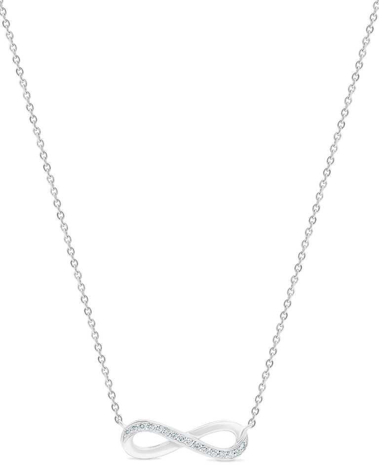 DE BEERS「Infinity」系列,18K白金鑽石吊墜項鍊,鑽石總重約0.06克拉╱50,000元。(圖╱DE BEERS提供)