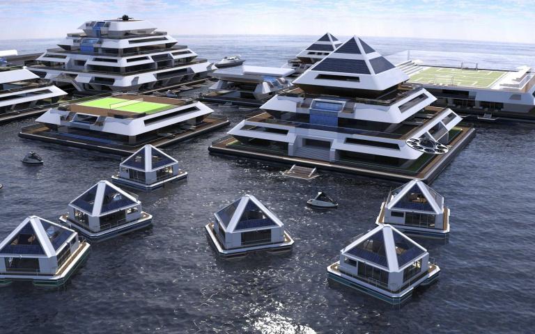 全球暖化日益加劇...海島國家有救了?國外打造「水上漂浮金字塔」,酒吧、健身房和電影院通通都有!