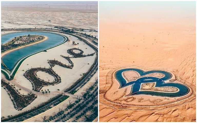 杜拜版雙心石滬?位在沙漠中的愛之湖,成為情侶熱門朝聖地點!
