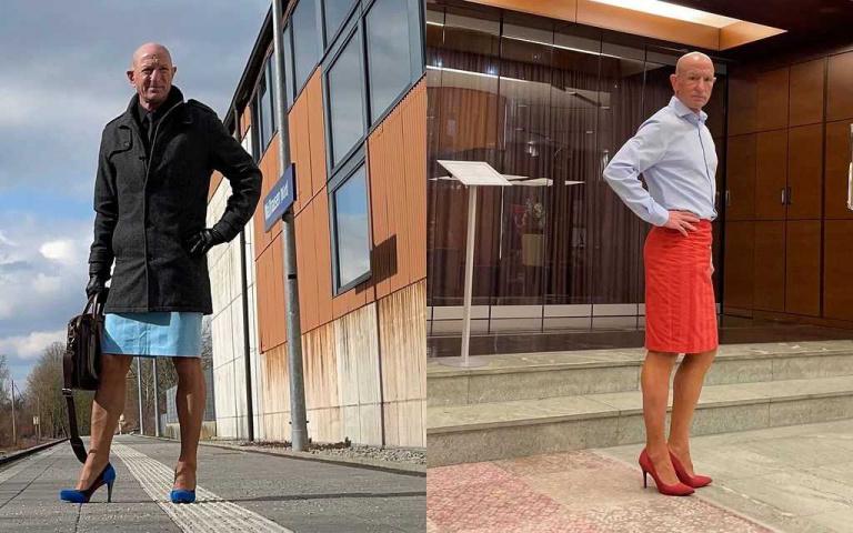 美國帥大叔堅持做自己!每天穿「窄裙+高跟鞋」打破性別框架