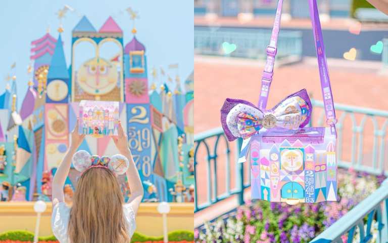 果然還是迪士尼最懂少女心!夢幻粉紫色「小小世界爆米花桶」,開門還有愛麗絲旋轉人偶!
