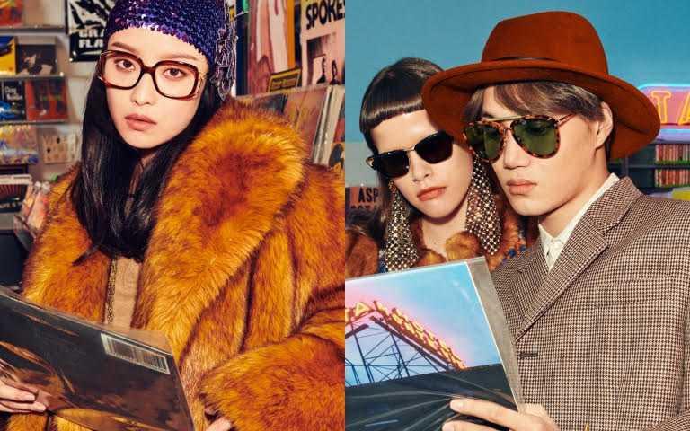 EXO KAI、倪妮大玩復古風 戴起眼鏡在老派場片行裡穿搭GUCCI