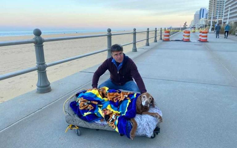 「你想做的,我都陪你」!將離世愛犬想「再看一次大海」,飼主親手打造「移動式狗床」!