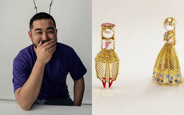 米希亞東奧彩虹刨冰裝設計師萌翻跨界!聯手法國頂級珠寶FRED創作黃金娃娃,藝術吊墜胸針玩美上身