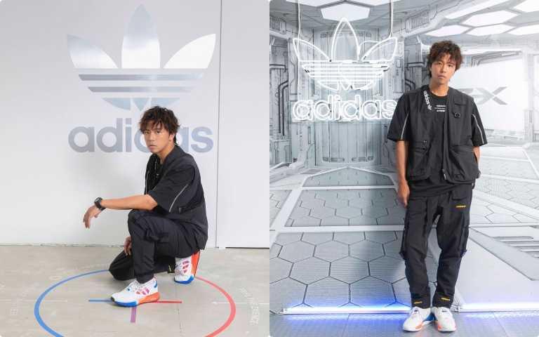 小鬼黃鴻升腳踩adidas Originals最新鞋款 一身黑打造超未來街頭著裝