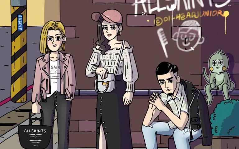 ALLSAINTS X 潮流圖文插畫家 油頭二世 三組人物插畫繪製 帥氣展現英倫街頭潮流