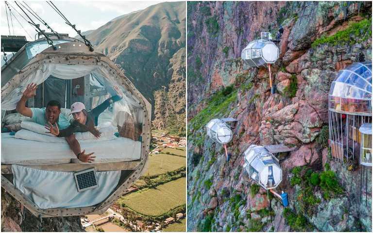 心臟不夠大顆不要看!吊掛在懸崖邊的透明膠囊旅館,你敢試試看嗎?