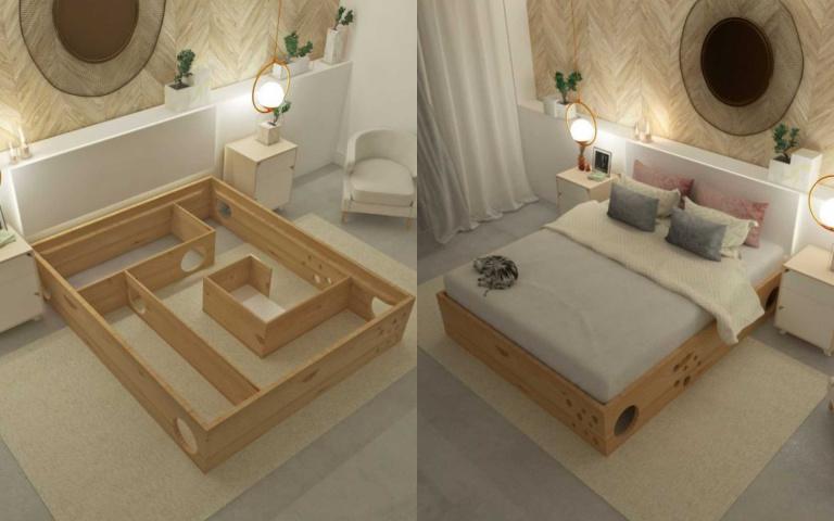 超有安全感的床底樂園!為貓奴與主子設計的「迷宮床架」