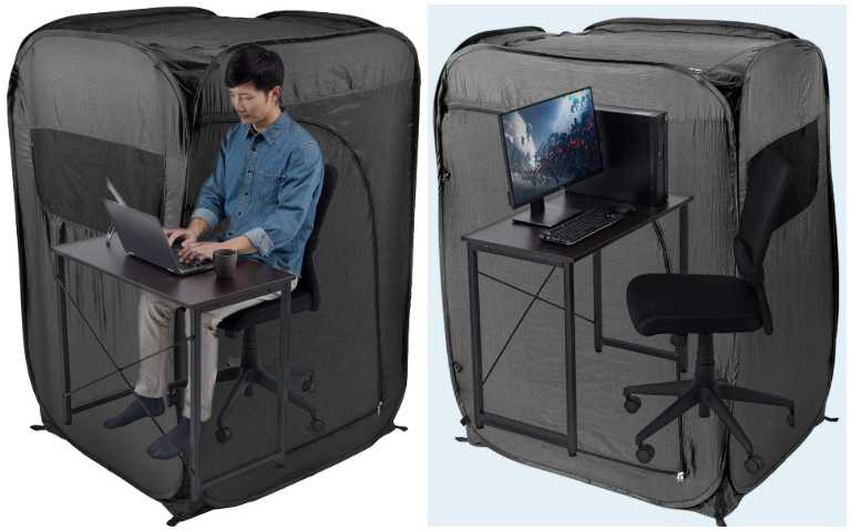 無法在家上班怎麼辦?「個人帳篷」放在辦公室,從此與世人隔絕開來!