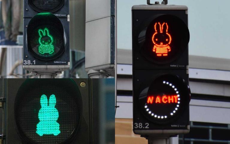 全球唯一的Miffy米菲紅綠燈在荷蘭!還有彩虹斑馬線讓過馬路充滿童趣