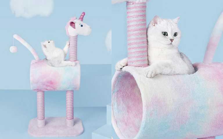 直接就地融化!夢幻粉彩「獨角獸貓跳台」,超適合家中仙女貓貓!