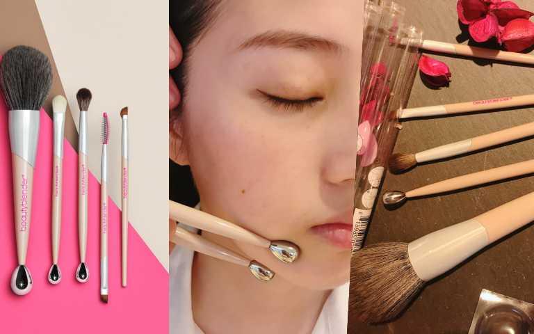 細節控必備!上妝刷具同時是按摩美妝工具,獨特原創美妝蛋鋅合金滾輪設計,保養上妝一起做!
