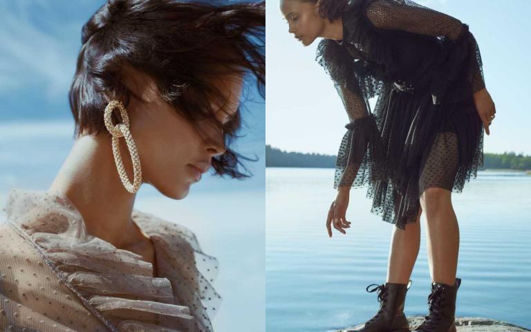 蘑菇灰蕾絲洋裝簡直太美!H&M攜手Sandra Mansour推出聯名系列