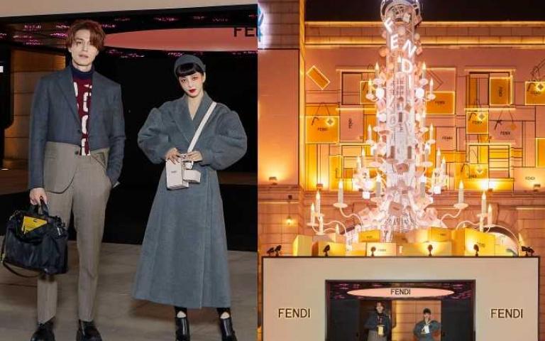 去不了韓國過聖誕?帶你搶先看韓國首爾Galleria百貨外牆,掛滿FENDI裝飾的巨型聖誕樹!九尾狐李棟旭還攜手韓藝瑟一起點燈!