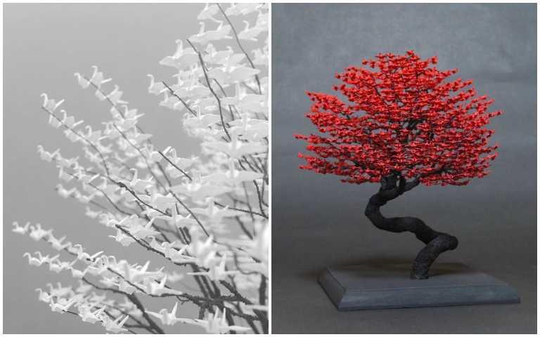 這不是樹葉…摺紙達人用數千隻1公分微型紙鶴,讓盆景美出全新高度!