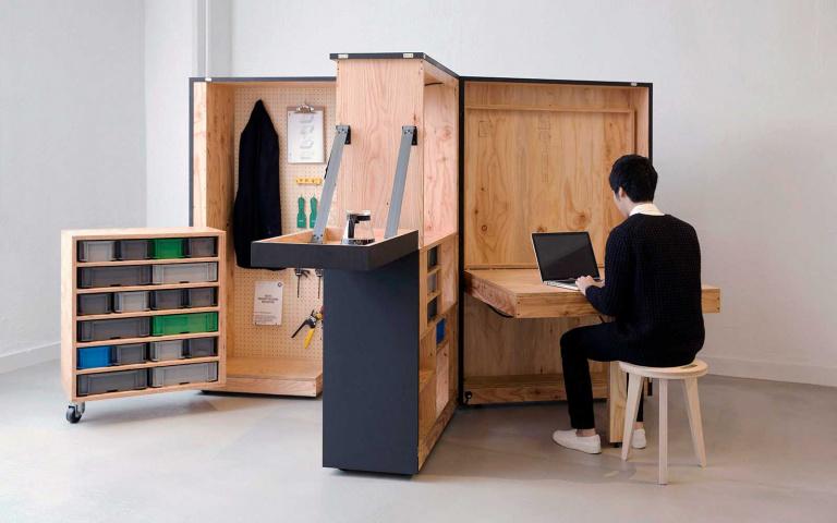 設計圖免費下載!集結辦公、茶水間、收納功能的「行動辦公室」,簡直就是百寶箱!