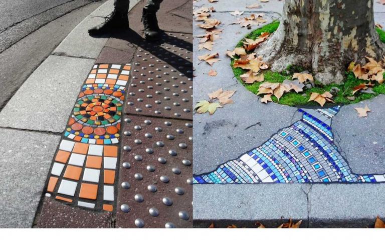 把缺點變優點!藝術家將馬路坑洞貼上「彩色磁磚」,連水溝蓋都有人搶拍!