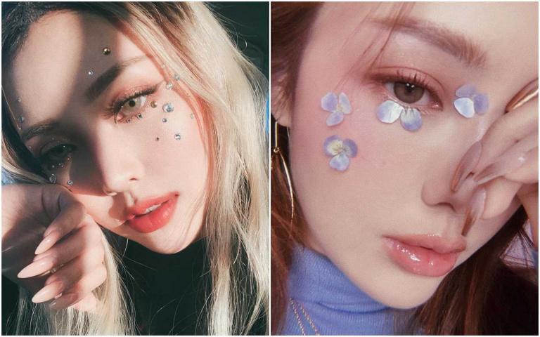 往臉上貼金?其實現在最流行的是往眼上貼花瓣、貼珍珠、貼寶石好嗎XD