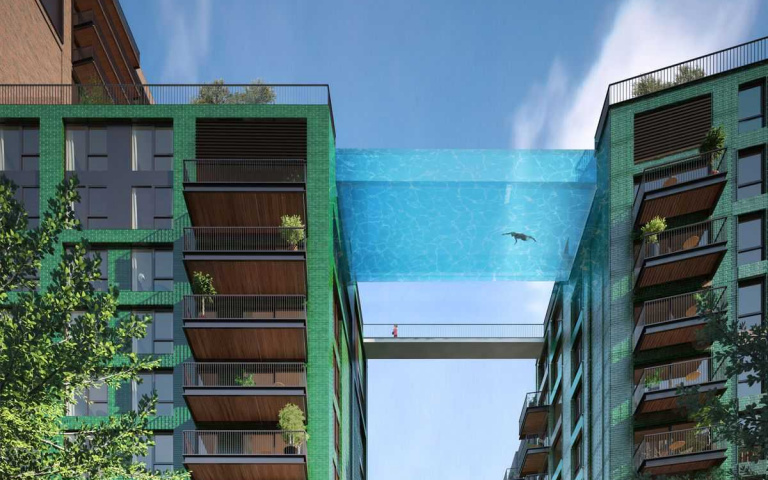 飄浮在十層樓高俯瞰倫敦景致!世界唯一的空中泳池