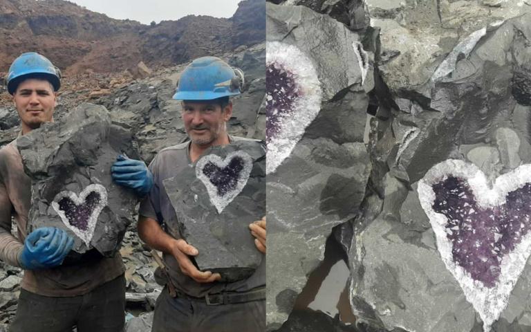 神賜的禮物!超幸運礦工挖到「愛心紫水晶」,兩塊「同時出土」根本奇蹟!
