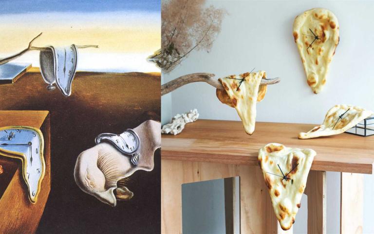用印度烤餅還原達利癱軟時鐘!日本藝術家的麵包還會發光