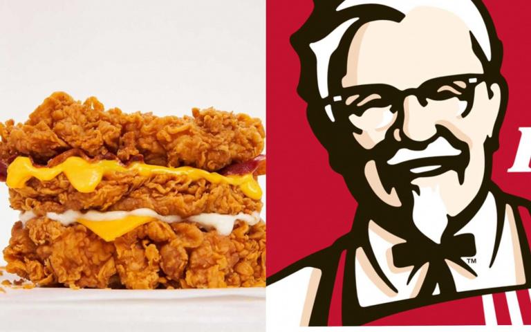 脂肪、膽固醇來敲門!肯德基推出「三層炸雞漢堡」,連生菜都幫你挑掉啦!