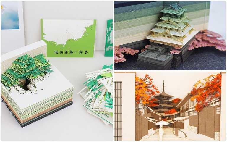 美翻!「世界最美便條紙」OMOSHIROI BLOCK,整本撕完直接變成藝術品!