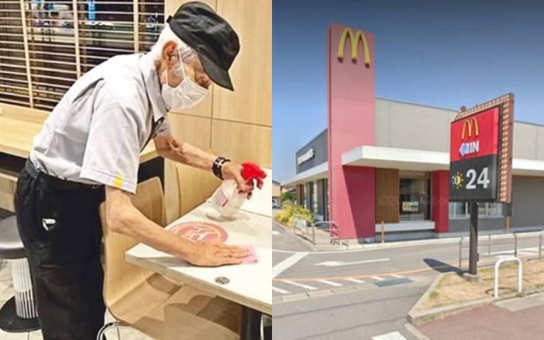 日本麥當勞「最老員工」!93歲爺爺照輪大夜班,與同事「相差78歲」!