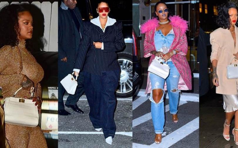 蕾哈娜變身曬包魔人?原來白色包款這麼好搭,連曝光4套冬天私服照全都少不了它!