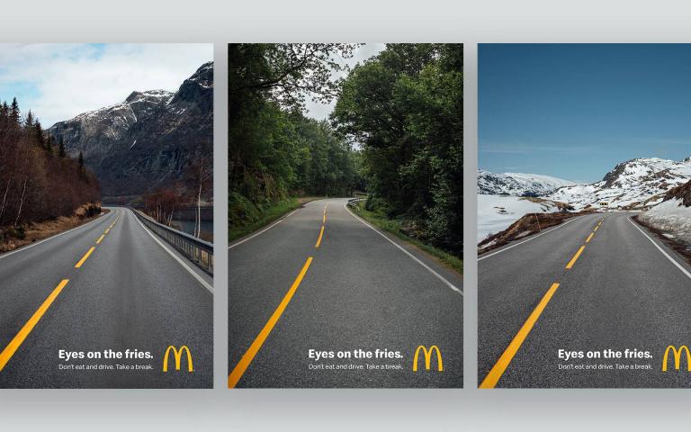 各位注意路面上的「薯條」!而不是你外帶的餐點!