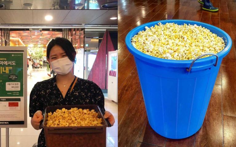 連「垃圾桶」也扛來!樂天電影院推出「自備容器裝爆米花」,「不論大小都150元」民眾全樂歪!