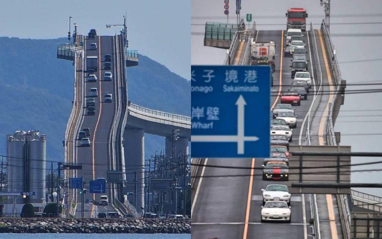 用生命在駕駛!「日本第一拉麵橋」通往天際,每前進100米就「爬升6公尺」!