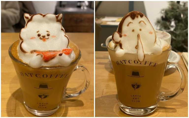 萌度破表!東京HAT COFFEE客製3D立體拉花,可愛到捨不得喝啦!