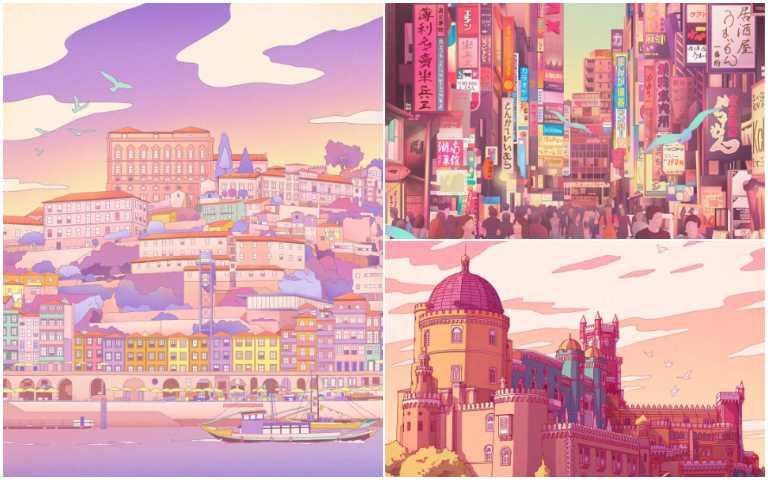 葡萄牙插畫家Camila Nogueira,用粉色調為每座城市抹上迷幻光影!